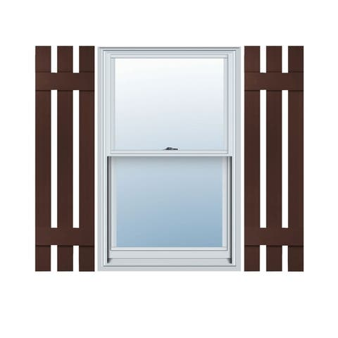 Builders Choice Vinyl Three Board Spaced Window Shutters (Pair)