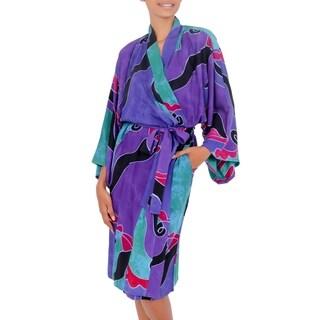 Link to Handmade Turquoise Ocean  Womens Batik Robe (Indonesia) Similar Items in Intimates