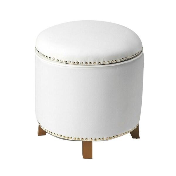 Excellent Shop Transitional White Velvet Round Storage Ottoman Free Short Links Chair Design For Home Short Linksinfo