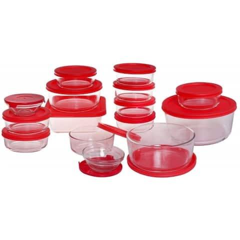 Anchor Hocking 13386AHG17 30 Piece Glass Food Storage Set - Cherry