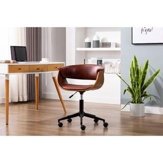 Porthos Home Idan Adjustable Swivel Office Chair, PU Leather