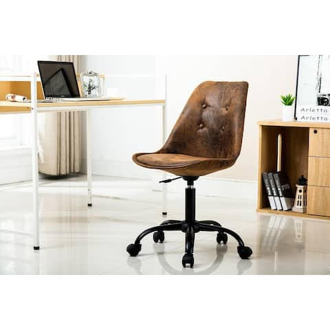 Porthos Home Fania Armless Swivel Office Chair, Suede Upholstery