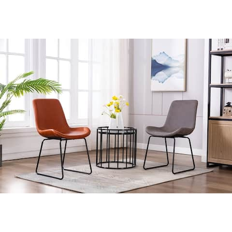Porthos Home Genji Dining Chairs Set of 2, PU Leather and Metal Legs