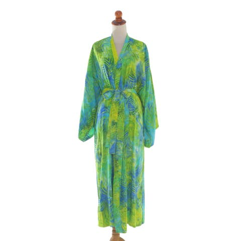 Leafy Haven Rayon Batik Robe