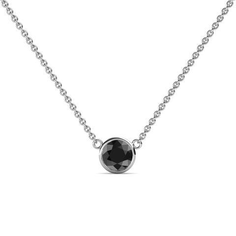 """TriJewels Black Diamond Bezel Solitaire Pendant 0.50 ct 16"""" 14KW Gold"""