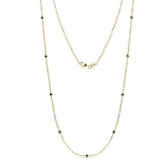 TriJewels 9 Stone Blue Diamond Station Necklace 0 27 Ctw 14KY Gold