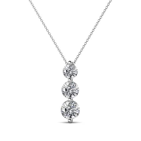 "TriJewels Diamond Graduated 3 Stone Drop Pendant 0.75ctw 16"" 14KW Gold"