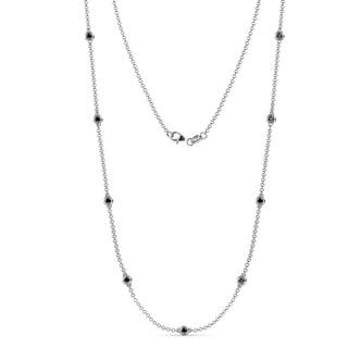 TriJewels 9 Stone Black Diamond Station Necklace 0 43 Ctw 14KW Gold