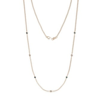 TriJewels Blue And White Diamond Station Necklace 0 59 Ctw 14KR Gold