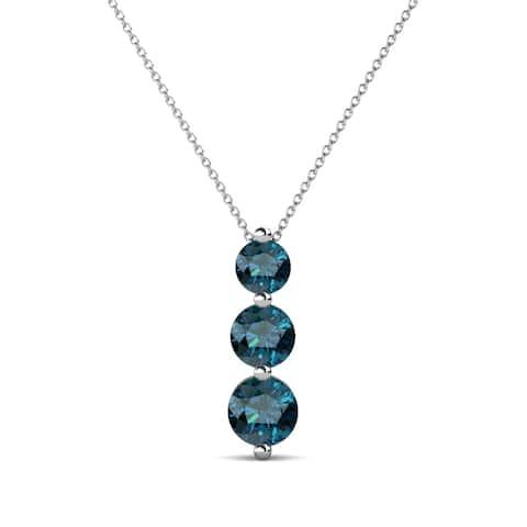 "TriJewels Blue Diamond Graduated 3 Stone Pendant 0.75ctw 16"" 14KW Gold"