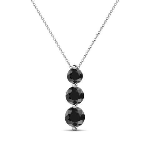 "TriJewels Black Diamond Graduated 3Stone Pendant 0.81ctw 16"" 14KW Gold"