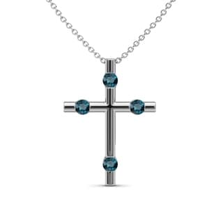 TriJewels Blue Diamond Womens Cross Pendant 0 16 Ctw 14KW Gold