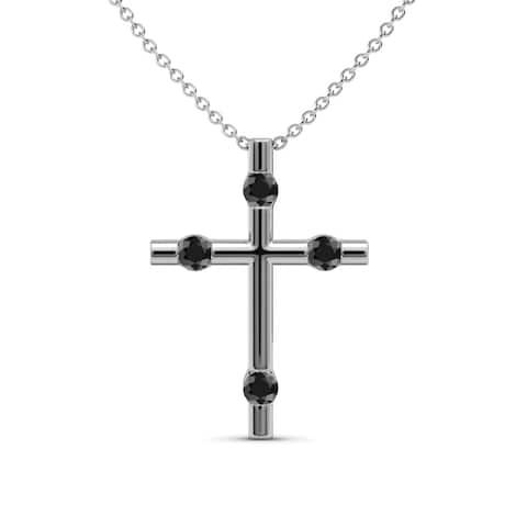TriJewels Black Diamond Womens Cross Pendant 0.17 ctw 14KW Gold