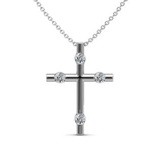 TriJewels Diamond Womens Cross Pendant 0 16 Ctw 14KW Gold