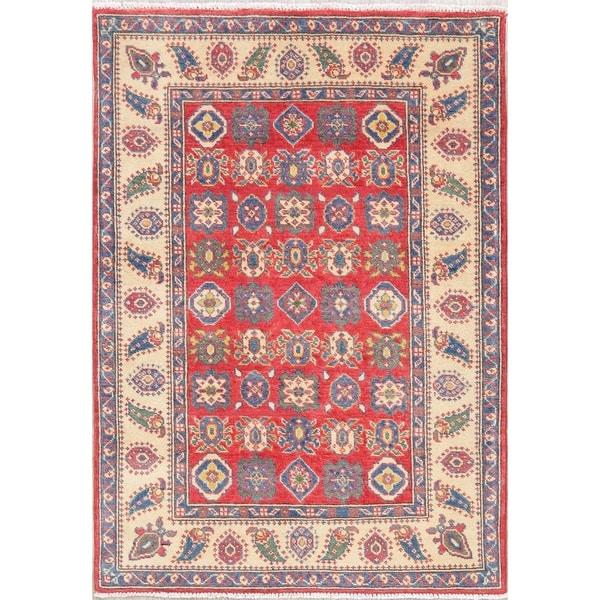 "Kazak Oriental Hand Knotted Wool Pakistani Area Rug - 4'9"" x 3'4"""
