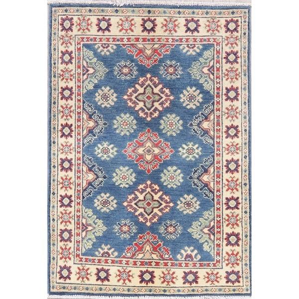 "Kazak Oriental Hand Knotted Wool Pakistani Area Rug - 4'1"" x 2'8"""