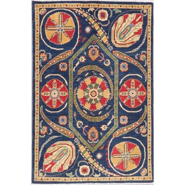 "Kazak Oriental Hand Knotted Wool Pakistani Area Rug - 5'3"" x 3'7"""
