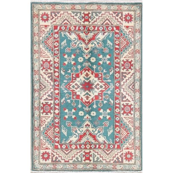 "Kazak Oriental Hand Knotted Wool Pakistani Area Rug - 4'1"" x 2'9"""