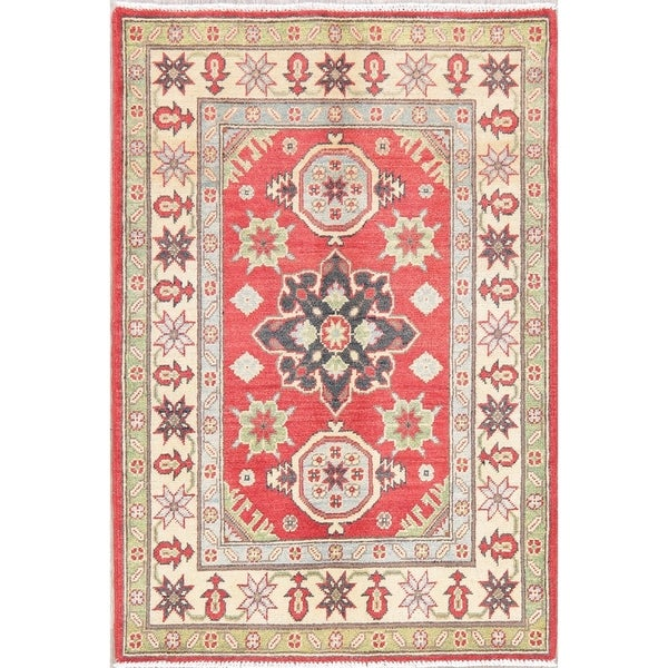 "Kazak Oriental Hand Knotted Wool Pakistani Area Rug - 4'0"" x 2'9"""