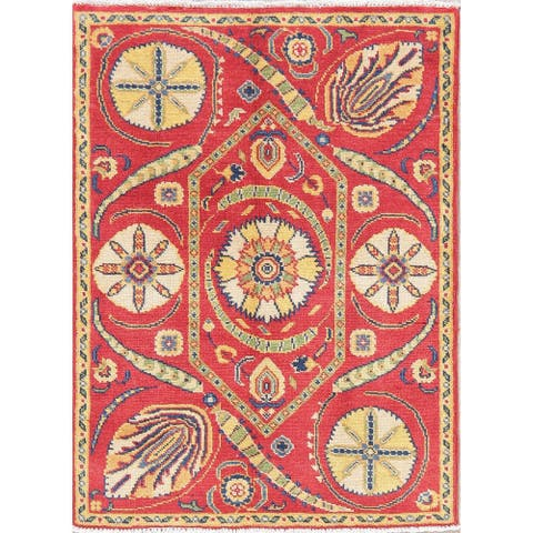 "Kazak Oriental Hand Knotted Wool Pakistani Area Rug - 3'7"" x 2'8"""