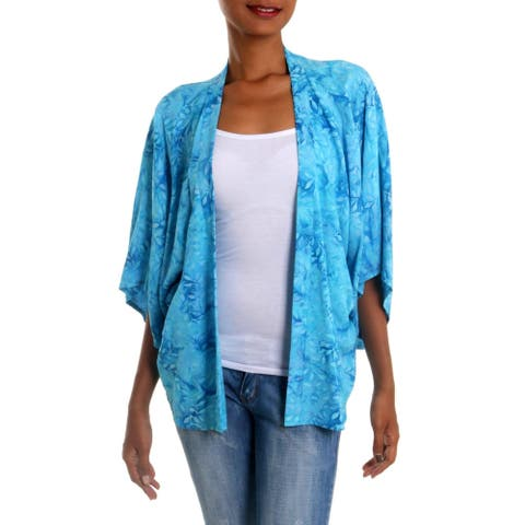 Handmade Lavish Garden In Cyan Rayon Batik Jacket (Indonesia)