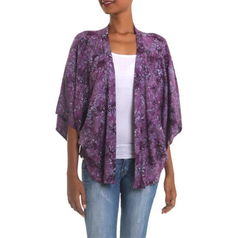 Handmade Lavish Garden in Boysenberry Rayon Batik Jacket (Indonesia)
