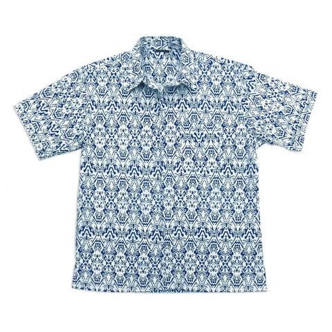 Handmade Jepara Sky Mens Batik Cotton Shirt (Indonesia)