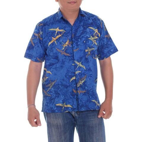 Handmade Indigo Birds Mens Cotton Batik Shirt (indonesia)