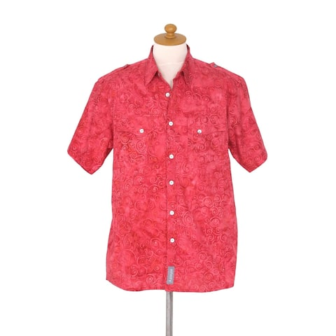 Handmade Red Bali Expedition Mens Cotton Shirt (Indonesia)