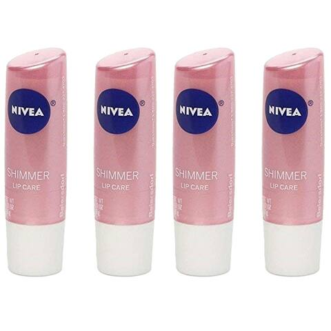 (4 Pack) Nivea Shimmer Radiant Lip Moisture Treatment Chapstick
