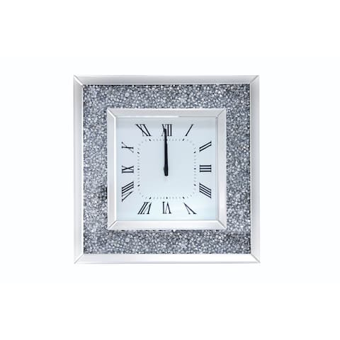 Faux Crystal Inlaid Mirrored Analog Wall Clock with Wooden Backing, Clear