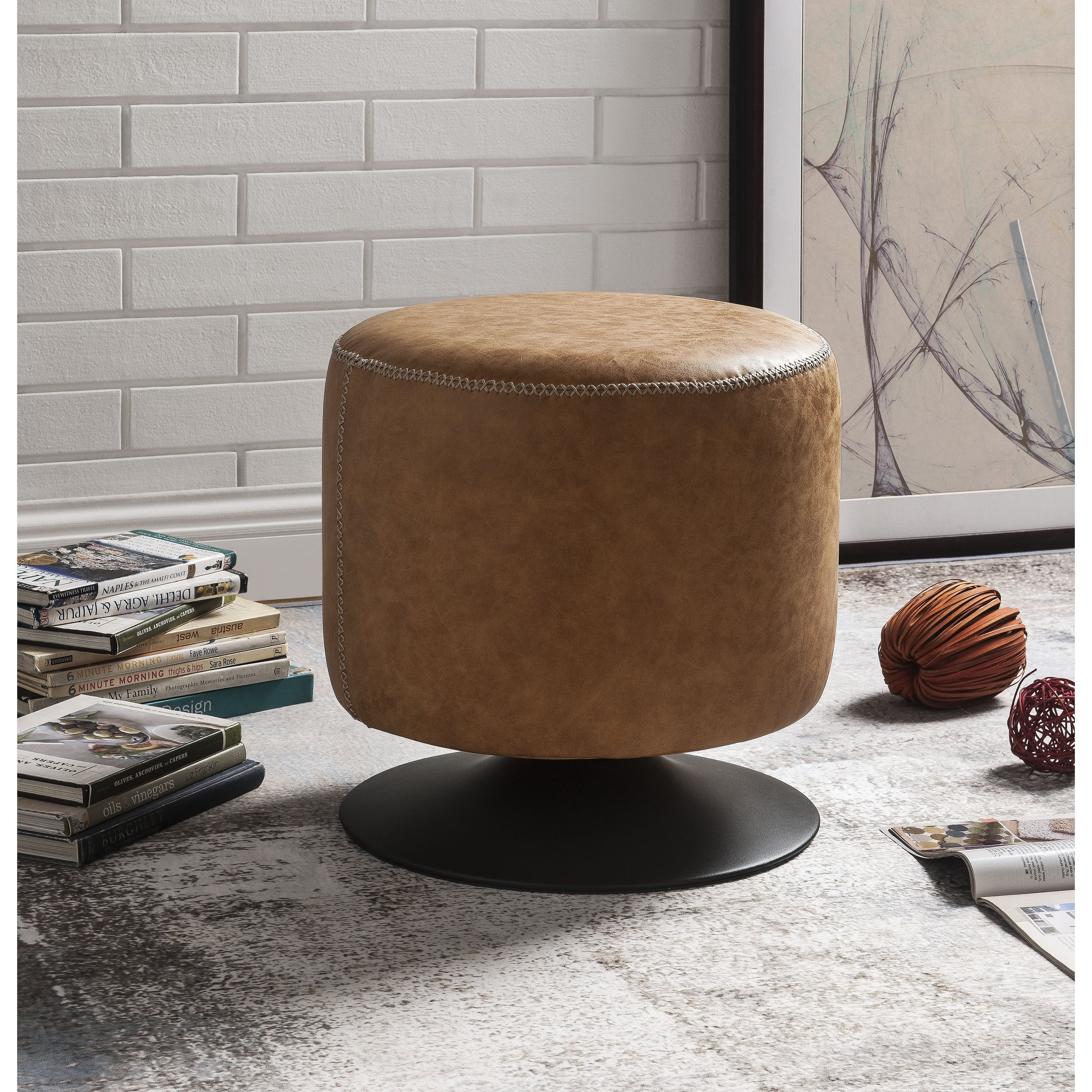 Remarkable Leatherette Upholstered Swivel Ottoman With Round Metal Base Caramel Brown And Black Alphanode Cool Chair Designs And Ideas Alphanodeonline