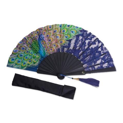 Handmade Peacock Mystery Mahogany and Silk Fan (Indonesia)