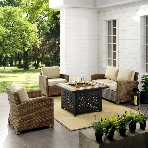 Shop Bradenton 4 Piece Outdoor Wicker Seating Set With