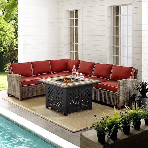 Bradenton 5-Piece Outdoor Wicker Seating Set With Sangria Cushions
