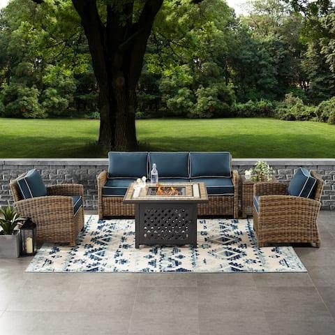 Bradenton 5-Piece Outdoor Wicker Sofa Conversation Set With Navy Cushions