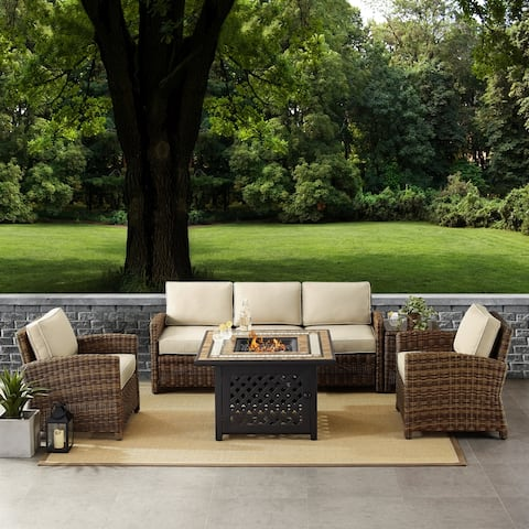 Bradenton 5-Piece Outdoor Wicker Sofa Conversation Set With Sand Cushions