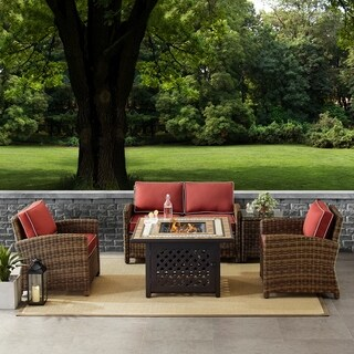 Bradenton 5-Piece Outdoor Wicker Conversation Set With Sangria Cushions