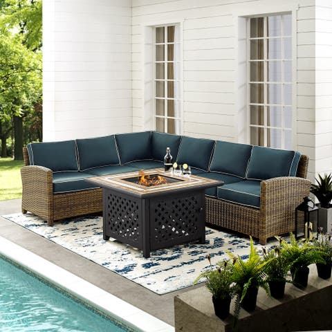 Bradenton 5-Piece Outdoor Wicker Seating Set With Navy Cushions
