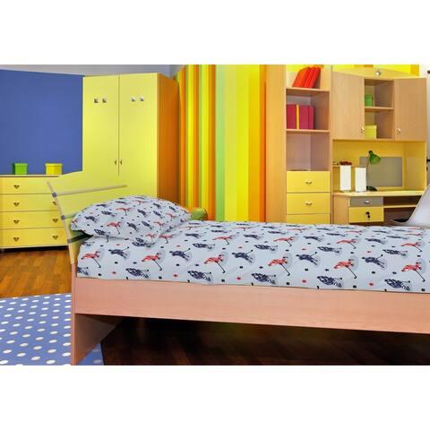 Porch & Den Tremont Kid's Hockey Pattern Flannel Sheet Set - Size Twin