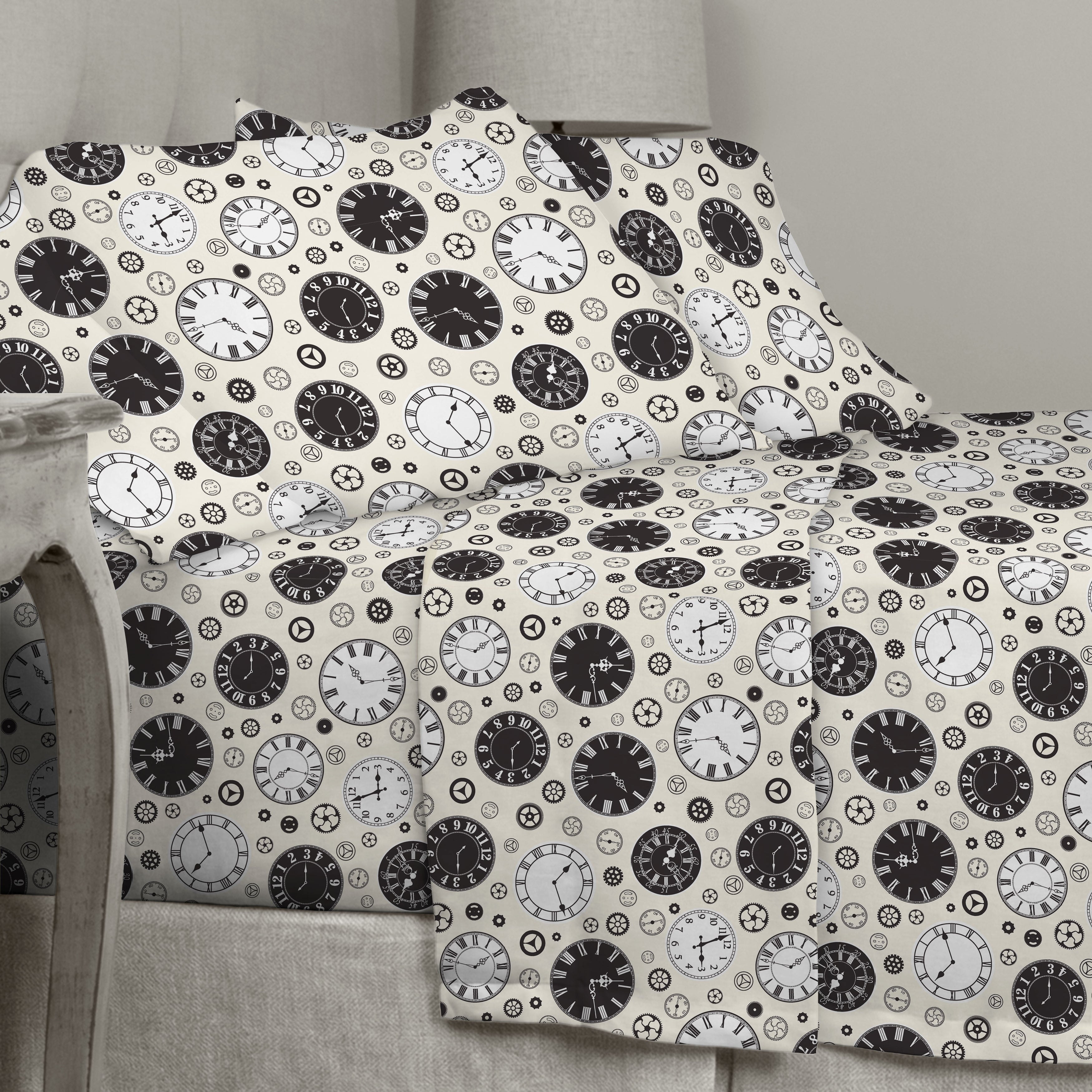 Shop Porch Den Rockne Clock Pattern Cotton Flannel Sheet Set Size Twin Overstock 28442060