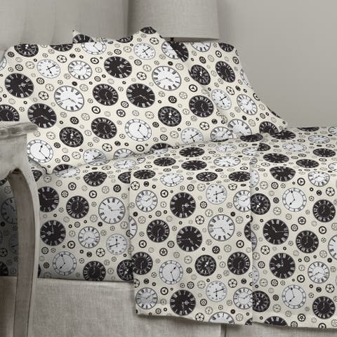 Porch & Den Rockne Clock Pattern Cotton Flannel Sheet Set - Size: Twin