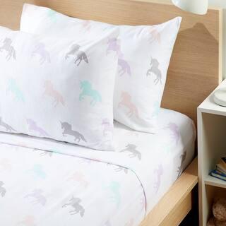 Porch & Den Werburgh Kid's Unicorn Pattern Flannel Sheet Set