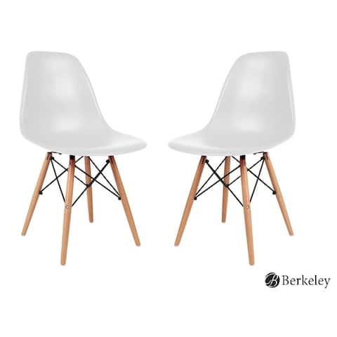 Berkeley Dining Chair, Mid Century Molded Shell Chair Set of 2, White - Medium