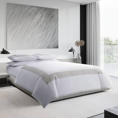 Vera Wang Sateen Band Silver Cotton Comforter Set