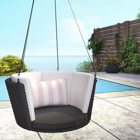 Novogratz Poolside Collection Sally Black Wicker Patio Hanging Swing