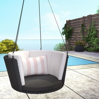 Link to Novogratz Poolside Collection Sally Black Wicker Patio Hanging Swing Similar Items in Outdoor Sofas, Chairs & Sectionals