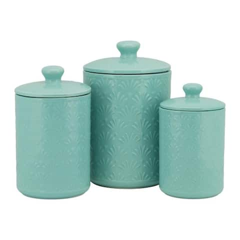 10 Strawberry Street Fan Embossed 3 Piece Ceramic Canister Set, Turquoise