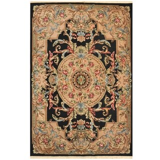Handmade One-of-a-Kind Indo Aubusson Wool Rug (India) - 6' x 9'3