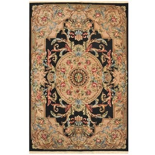 Handmade Herat Oriental Indo Hand-knotted Aubusson Wool Rug (6' x 9'3) - 6' x 9'3